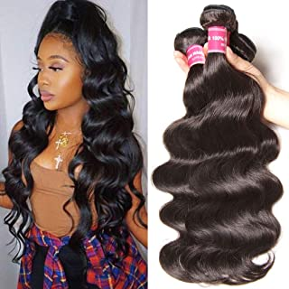Sunber Malaysian Body Wave 3 Bundles 10a 100% Unprocessed Virgin Hair Remy Weave Hair Human Bundles Mixed Length 95-100g/pc Natural Black Color (16 18 20 inch, Natural Color)