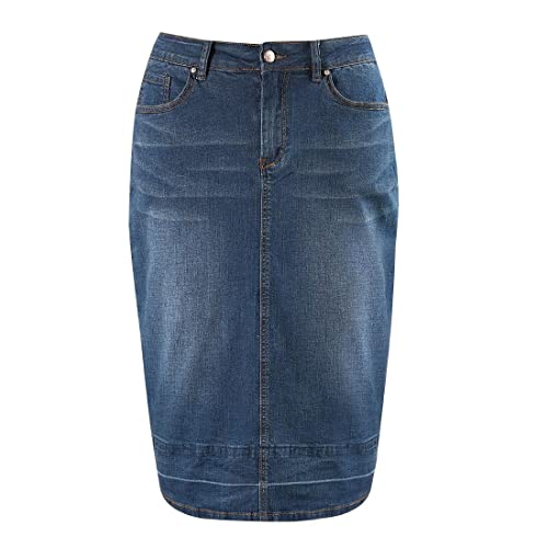 174624167ad MSSHE Women s Plus Size High Waist Stretchy Pencil Denim Midi Skirt