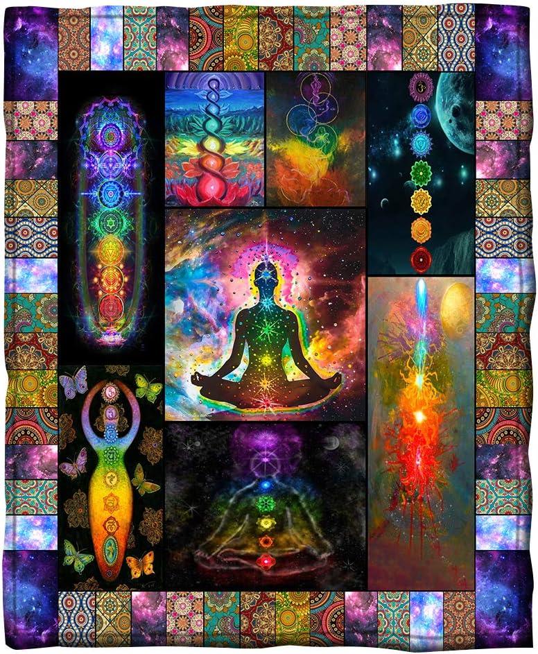 正規激安 Puurbol Meditation Yoga Blanket Chakra Gift 本日の目玉 Throws Fleece