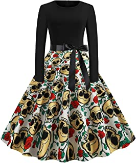 Women's Fashion O Neck Long Sleeve Halloween Printed Evening Party Pleated Dress