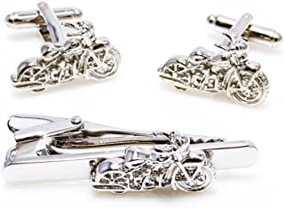 Motorcycle Pair of Cufflinks and Tie Bar Clip with a Presentation Gift Box