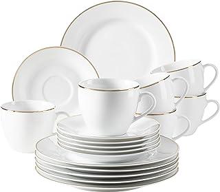 MÄSER 931532 Professional Dining Service à café en porcelaine pour 6 personnes Blanc avec bord doré Service à café 18 pièces