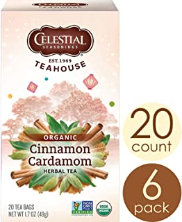 Celestial Seasonings Organic Herbal Tea, Cinnamon & Cardamom, 20 Count (Pack of 6)