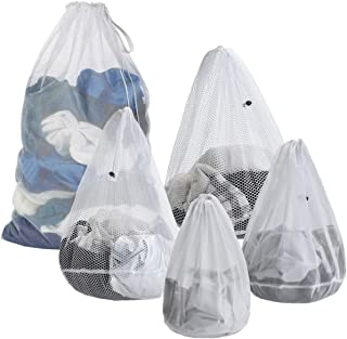 ARZASGO Mesh Laundry Bags, 5-Pack Drawstring Laundry Washing Bags for Delicates College Dorm Apartment (Coarse Mesh)