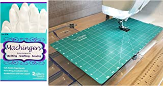 Sew Steady Free Motion Quilting Grid Slider Mat 12 x 20 and Machingers Gloves Size S/M Bundle