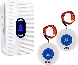Daytech ワイヤレス 呼び出しベル 介護者 ページャ 警報 システムSOS コールボタン 患者 高齢者 向け パーソナルホーム アテンダントナース 高齢者および 障害者 向け 1受信機& 2ポータブル 発信機