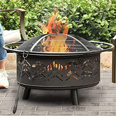 PHI VILLA 29  Fire Pit Large Steel Patio Fireplace Chevron Cutouts Portable, Poker & Spark Screen Included