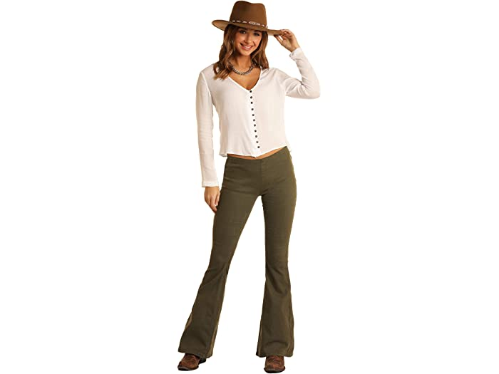 Rock and Roll Cowgirl W1P6157 High-Rise Pull-On Flare Jeans in Olive Green