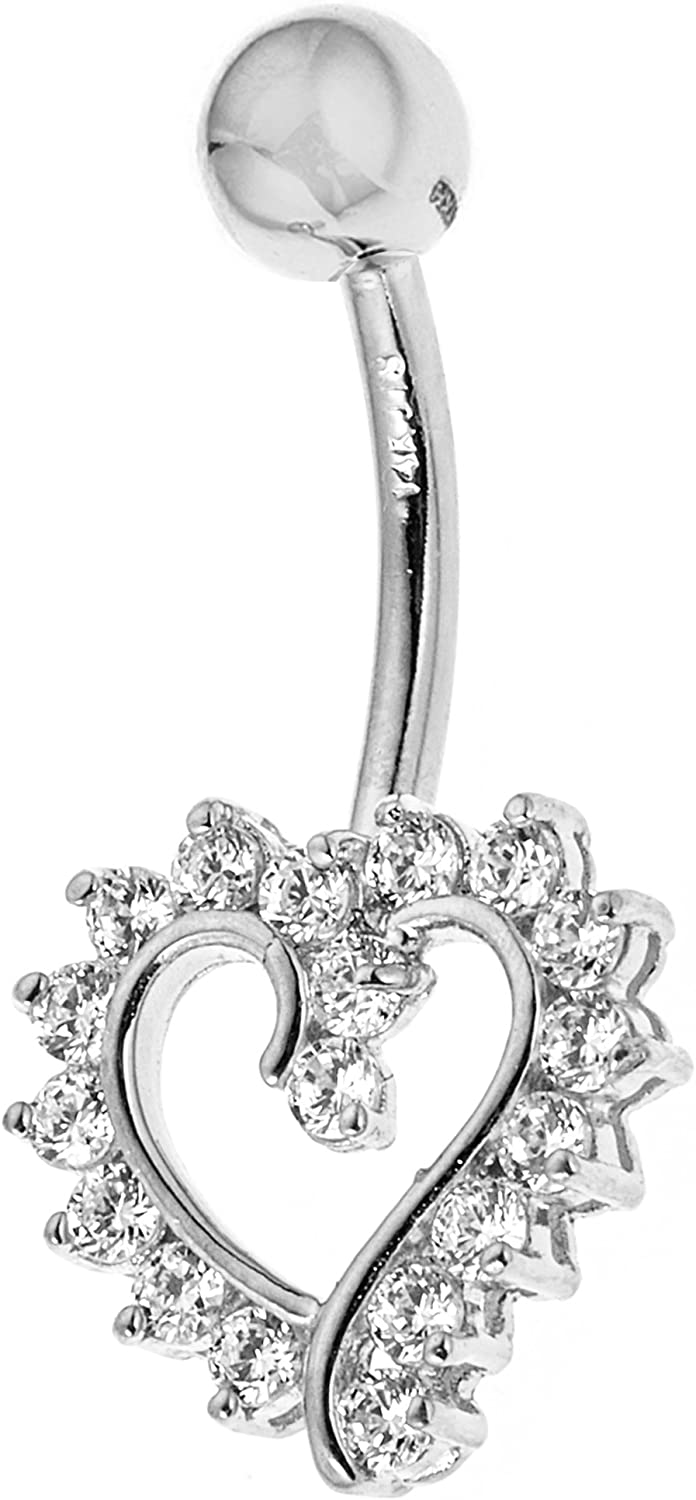 Ritastephens supreme 14k Solid Gold Cubic Belly Heart Gorgeous Zirconia Open Butt