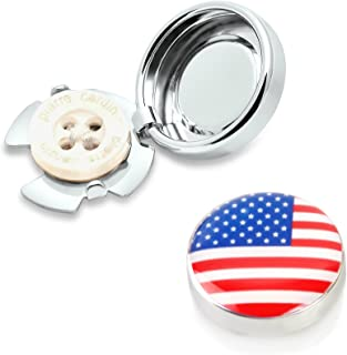 BUTTONCUFF World Flag Button Covers - Imitation Cuff Links for Any Shirt, Jacket or Collar