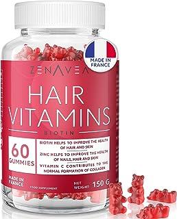 Integratore Capelli Pelle Unghie - 60 Gummy Hair - Cura di 1 Mese - Gusto Mirtillo - Vegano - Made in Francia - Vitamina B...
