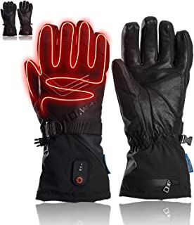 Dr.warm Heated Gloves for Men Women Electric Heated Leather Glove with 7.4V 2600mAh Rechargeable Battery Waterproof Hand Warmer Outdoor Sports