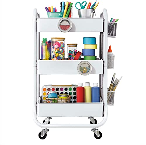 DESIGNA 3-Tier Metal Rolling Utility Cart with Handle & Removable Pegboard, Extra Office Storage Accessories Craft Ar...