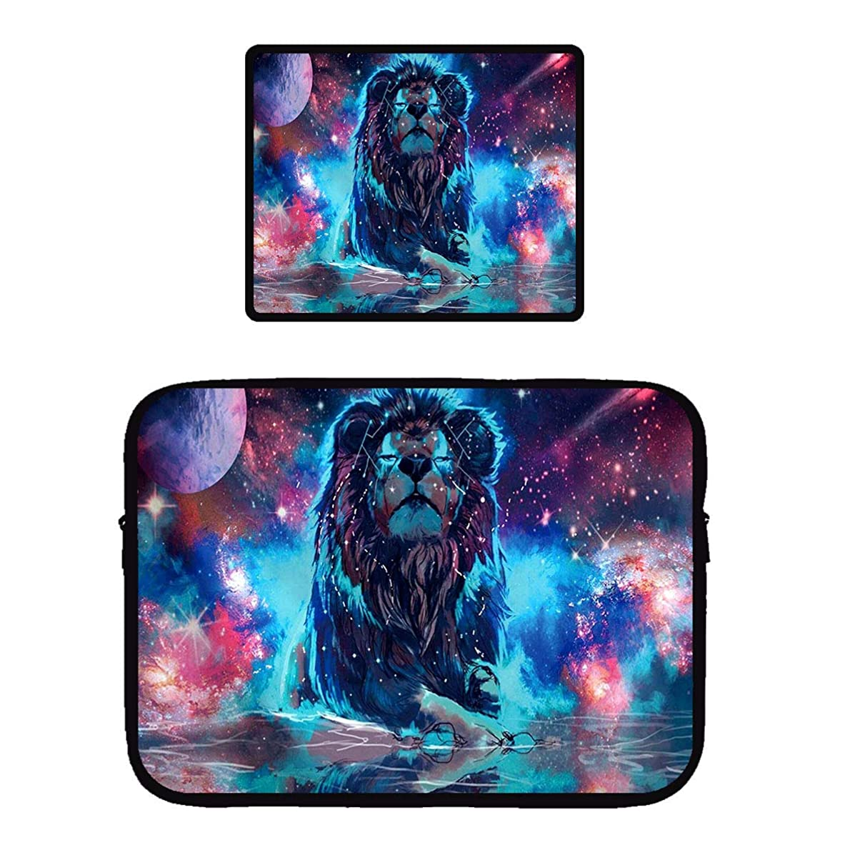 Beach Surfers Universe Galaxy Lion Nebula Leo Moon Star Earth Waterproof Laptop Computer Case Cover Sleeve & Mouse Pad Mousepad for Apple MacBook Air/Notebook/Netbook/Chromebook