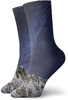 Socks Milky Way Snow Mountain Starry Sky Cushion Sports Work Athletic Crew Socks Men