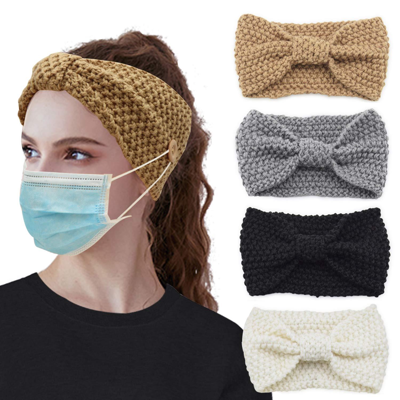 4 Pack Winter Button Headband Knitted Bowknot Ear Warmer Head Warmer Head Wrap Hair Bands for Women (Camel, Grey, Black, Creamy White)