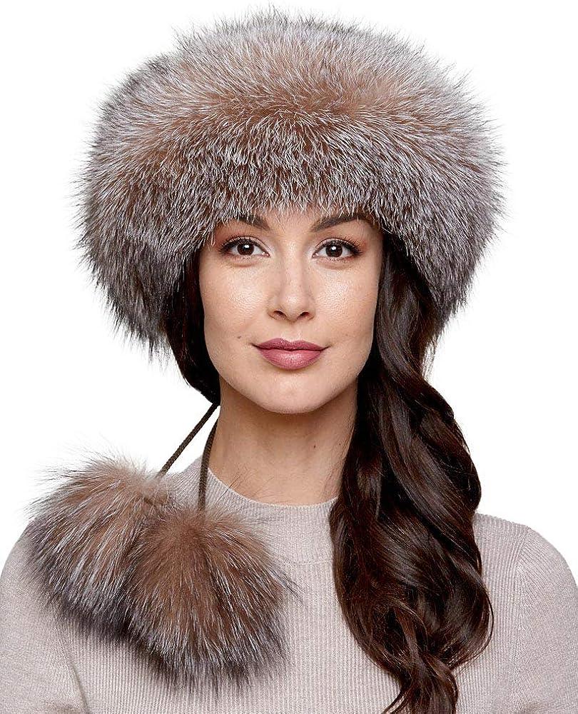 Crystal Fox Fur Headband with Pom Poms