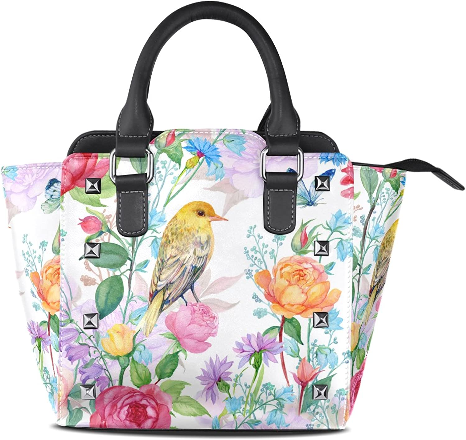 My Little Nest Women's Top Handle Satchel Handbag Floral pinks Bird Butterfly Ladies PU Leather Shoulder Bag Crossbody Bag