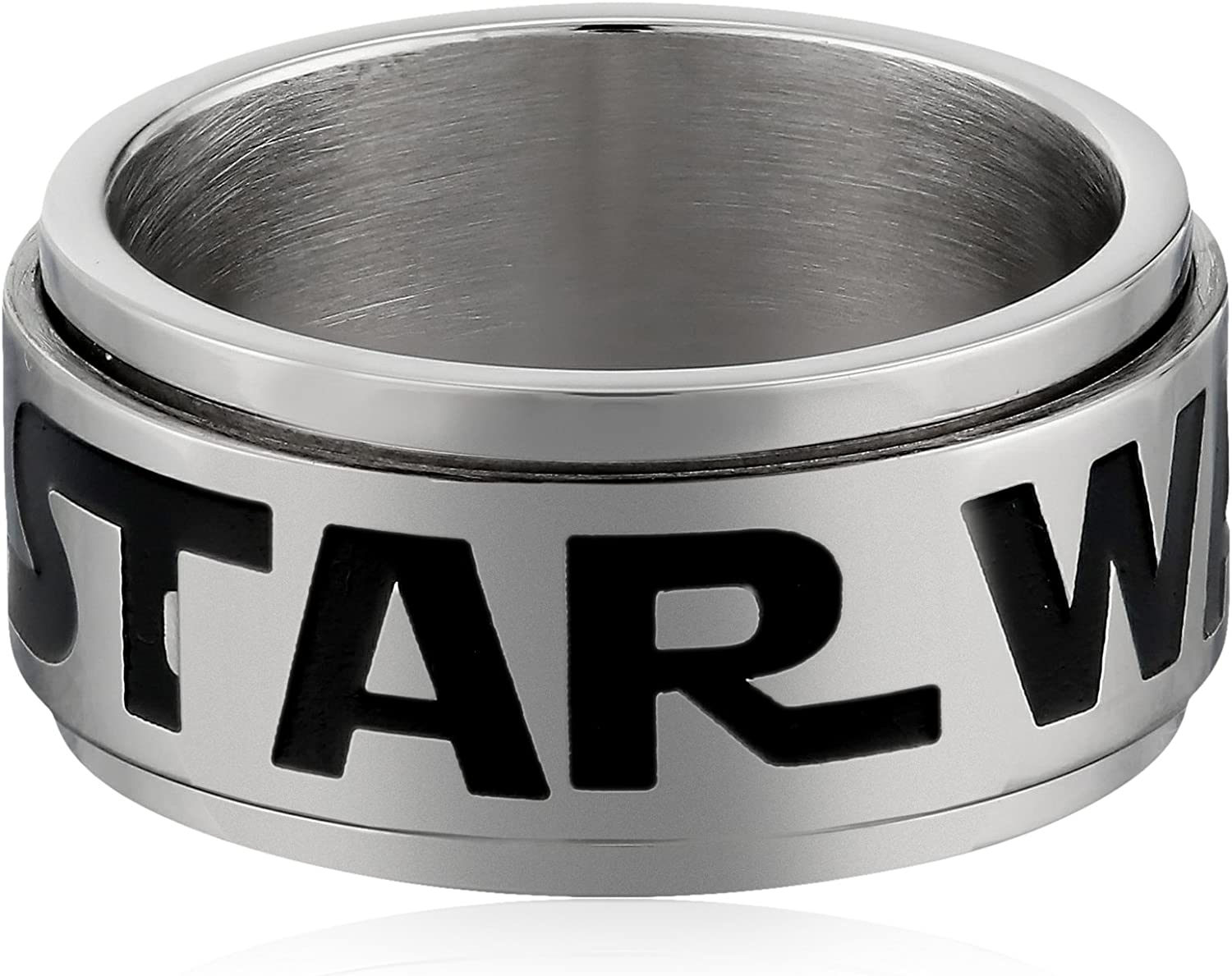 Star Wars Jewelry Men's Logo of Star Wars Stainless Steel Spinner Ring, Size 10