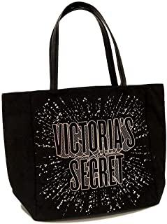 Victoria Secret Black Canvas Tote New W Tags W Pink & Silver Stars Attached