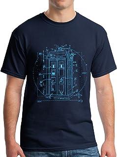 Vitruvian Police Call Box by Leonardo Da Vinci T-Shirt