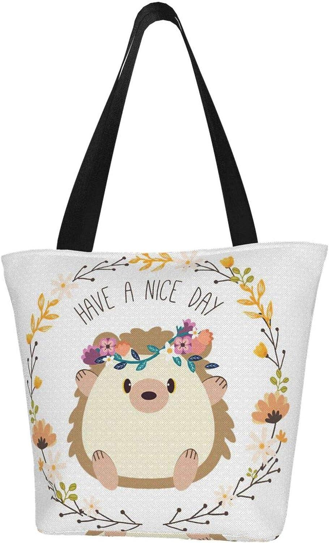 Have A Nice Day Flower Cartoon Hedgehog Themed Printed Women Canvas Handbag Zipper Shoulder Bag Work Booksbag Tote Purse Leisure Hobo Bag For Shopping