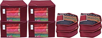 Kuber Industries Non Woven 4 Pieces Saree Cover/Cloth Wardrobe Organizer and 4 Pieces Blouse Cover Combo Set (Maroon)