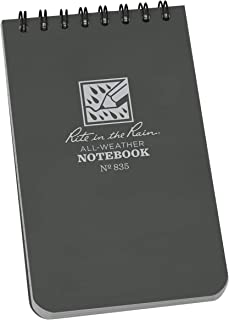 """Rite in the Rain Weatherproof Top Spiral Notebook, 3"""" x 5"""", Gray Cover, Universal Pattern, 6 pack (No. 835L6)"""