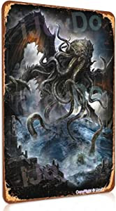 iJoyDo Vintage Metal Sign - Cthulhu Rising from Depths of Oceans Dark Gods - Retro Tin Sign Poster Art Wall Decor Bar Cafe Man Cave Home 8 × 12 Inch