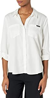 Calvin Klein Jeans Women's Split Hem Button Down Shirt with ROLL TAB Sleeves