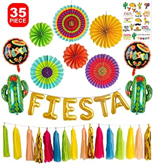 Fiesta Party Decorations Foil Balloons Backdrop Kit Balloon Banner Cactus Backdrop Mexican Fiesta Taco Centerpieces Paper Fans Flower Tassel Garland