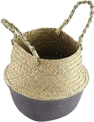Wäscherei, 2pcs natürlicher Seegras Bauch Korb Zickzack Stroh Pflanzer
