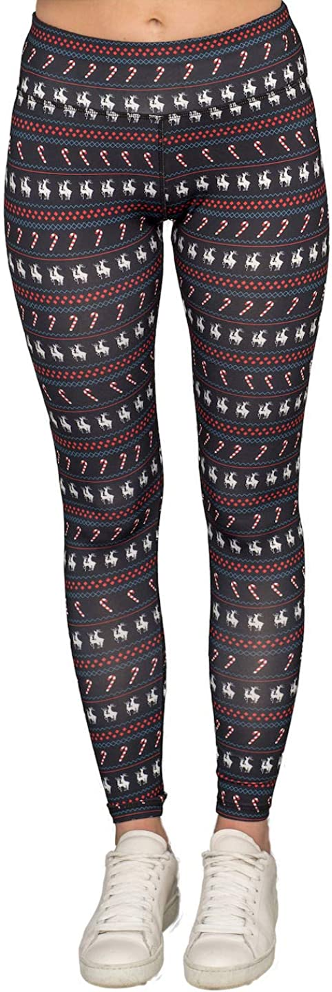 TV Store Humping New arrival Reindeer Candy Cane Black Women's Christmas SEAL limited product Leg