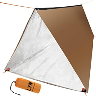 LYN Camping Tube Tent, Emergency Tube Tent and Muti-functional Survival Shelter with Windproof, Waterproof, Heat Preserved Tarp and Easily-Put Up