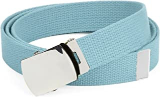 Hold'Em Military Canvas Webbing Belts for MEN'S–Polished Silver Slider Buckle Heavy Duty Adjustable
