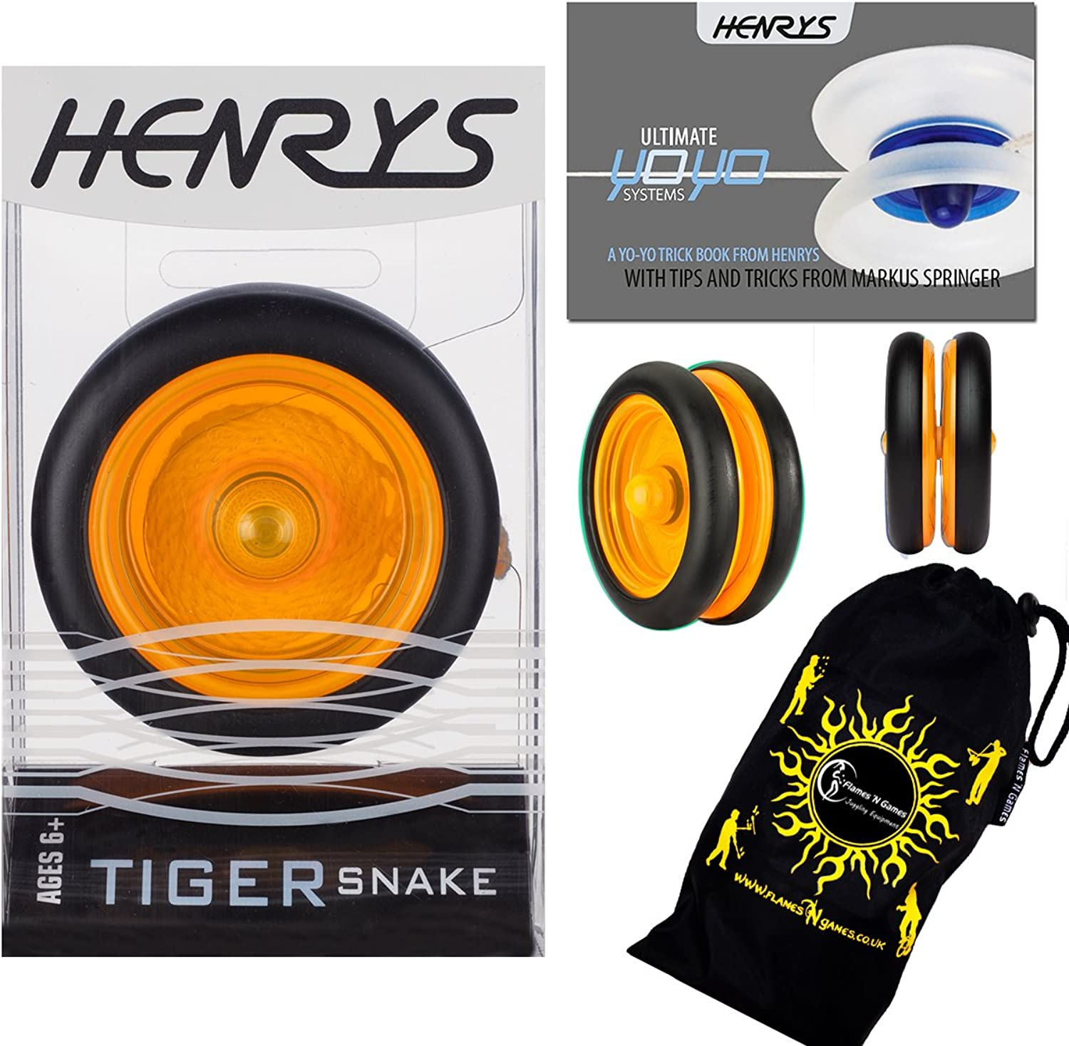 Henrys Tiger Snake YoYo (orange) Professional Looping Trick (2A) Bearing YoYo with AXYS System +Instructional Booklet of Tricks & Travel Bag  Pro YoYos for Kids and Adults.