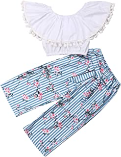 e16770332a95 Kids Baby Girls Off Shoulder Tops +Striped Long Pants Outfits Cotton Clothes  Set 0-