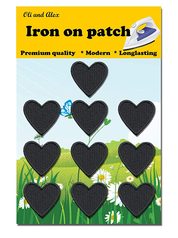 Iron On Patches - Black Heart Patch 10 pcs Iron On Patch Embroidered Applique 1.26 x 1.18 inches (3.2 x 3 cm) A-116