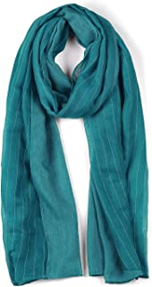 uxcell® Long Lightweight Cotton Striped Print Solid Color Scarf on Vocation for Women