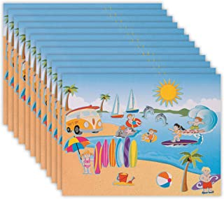 Kicko Make a Surfing Sticker - Set of 12 Summer Outdoor Fun Stickers Scene for Birthday Treat, Goody Bags, School Activity, Group Projects, Room Decor, Arts and Crafts