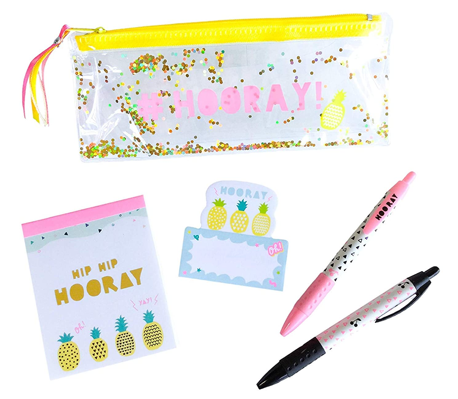 Cute Japanese Stationery Set (Vinyl Pen Case, Ballpoint Pen Black Ink 0.7 mm, Memo Pads, Sticky Note) 4 PCS Yellow Pineapple