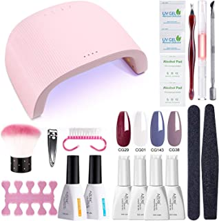 AZUREBEAUTY Gel Nail Polish Starter Kit with 48W UV/LED Lamp (3 Timer Setting),Base and Top Coat, Manicure Tools+ 4 Popular Nude Colors Gel Polish(12ml)