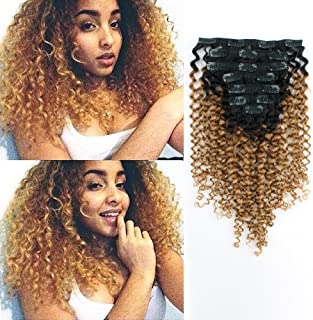 AmazingBeauty 8A Double Wefted 3B 3C Jerry Curl 1b Ombre Hair Extensions Clip in Human Hair for Black Women, Natural Black Fading into Chocolate Brown, 7 Pieces, 115 Grams, JC TN27, 12 Inch