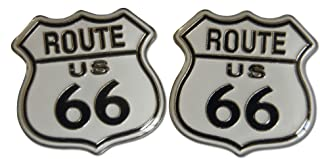 Route 66 Large Classic American White 2-Piece Lapel or Hat Pin & Tie Tack Set with Clutch Back by Novel Merk