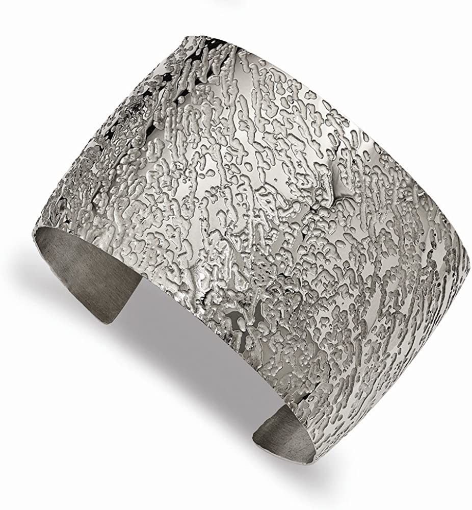 Solid Stainless Steel Textured 4.50mm Cuff Bangle Bracelet 5/16