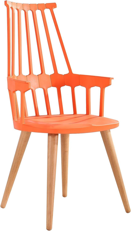 American Atelier Chair with Wood Legs, orange