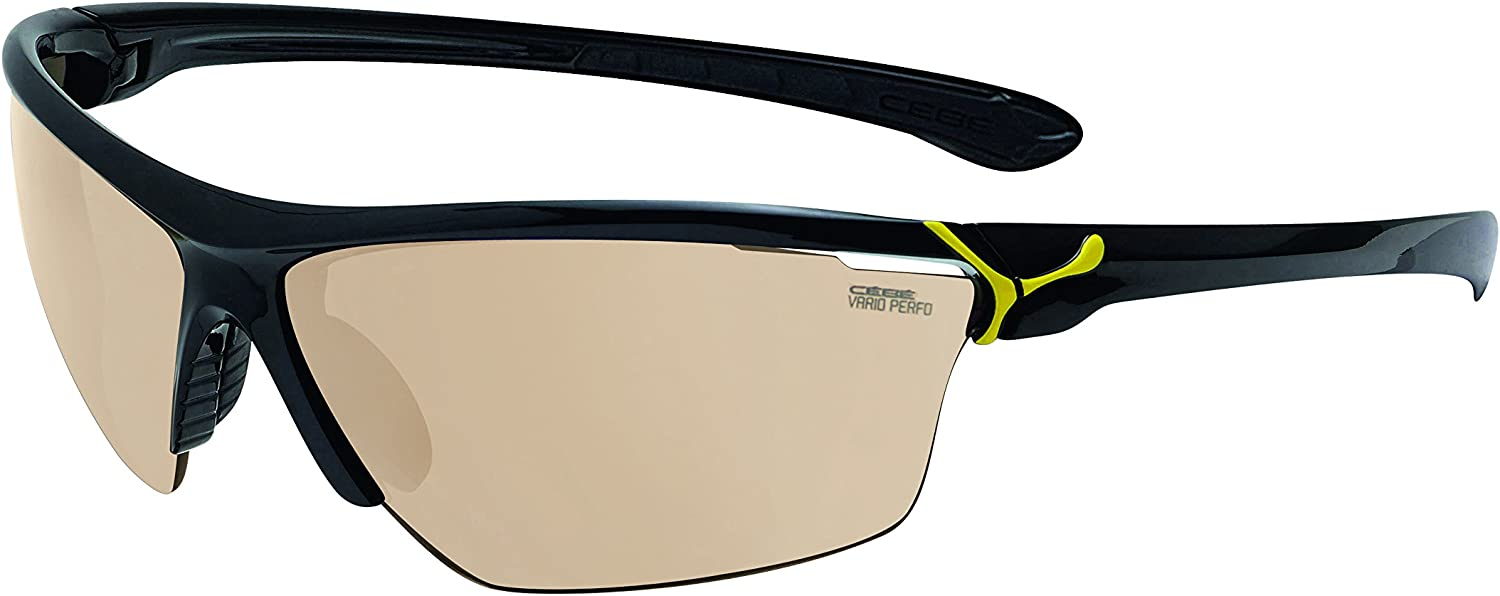 CEBE CINETIK MEDIUM SUNGLASSES (SHINY BLACK YELLOW FRAME VARIO PERFO+CLEAR LENS)
