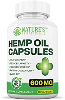 Organic Hemp Oil Extract Capsules 600mg - Ultra Premium Pain Relief Anti-Inflammatory, Stress & Anxiety Relief, Joint Support, Sleep Aid, Omega 3 6 9, Non-GMO Ultra-Pure CO2 Extracted