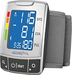 AccuraPulse Wrist Blood Pressure Monitor BP Cuff, Fully Automatic Portable Easy-to-Read