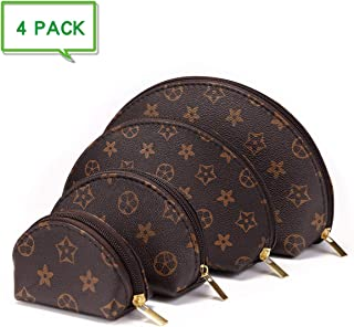 Luxury Checkered Make Up Bag Shell Shape Cosmetic Toiletry Travel Bags including 4 Size Bag (Brown Flower)